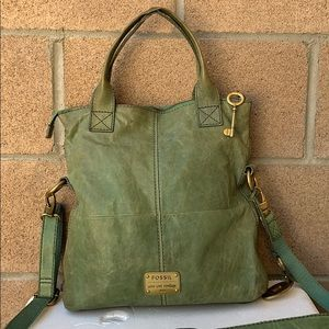 Fossil Modern Cargo Foldover green crossbody bag